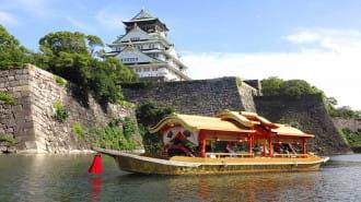 大阪城のお堀を豪華な船で観光できる「大阪城御座船」で優雅に過ごせます